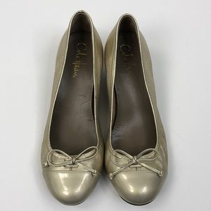 Cole Haan Nike Air Gold Wedge Slip On Shoes 8.5B